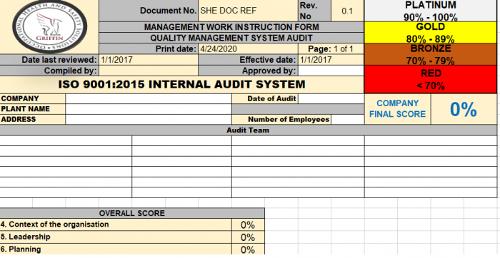 ISO 9001 Audit example 1