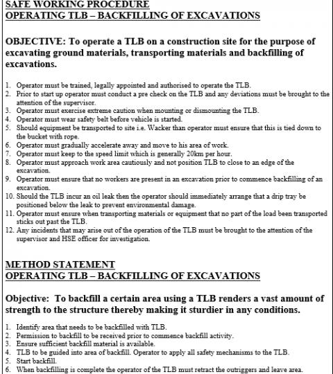 Safe Working Procedures/ Method Statements