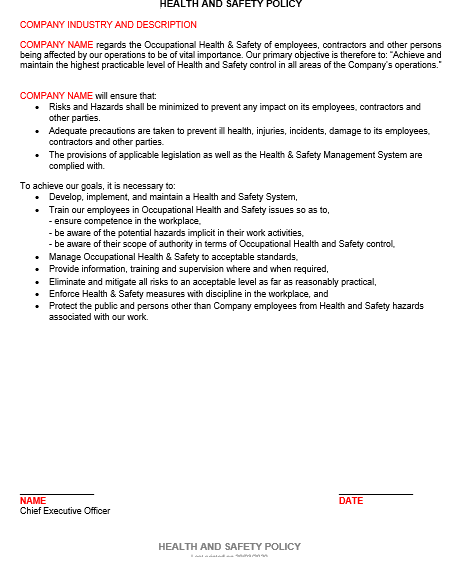 Safety File Policy Example Template