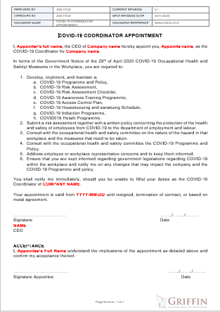 Covid-19 Coordinator Appointment example