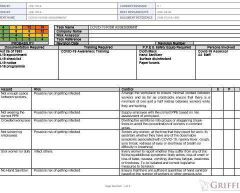 Risk Assessment Example